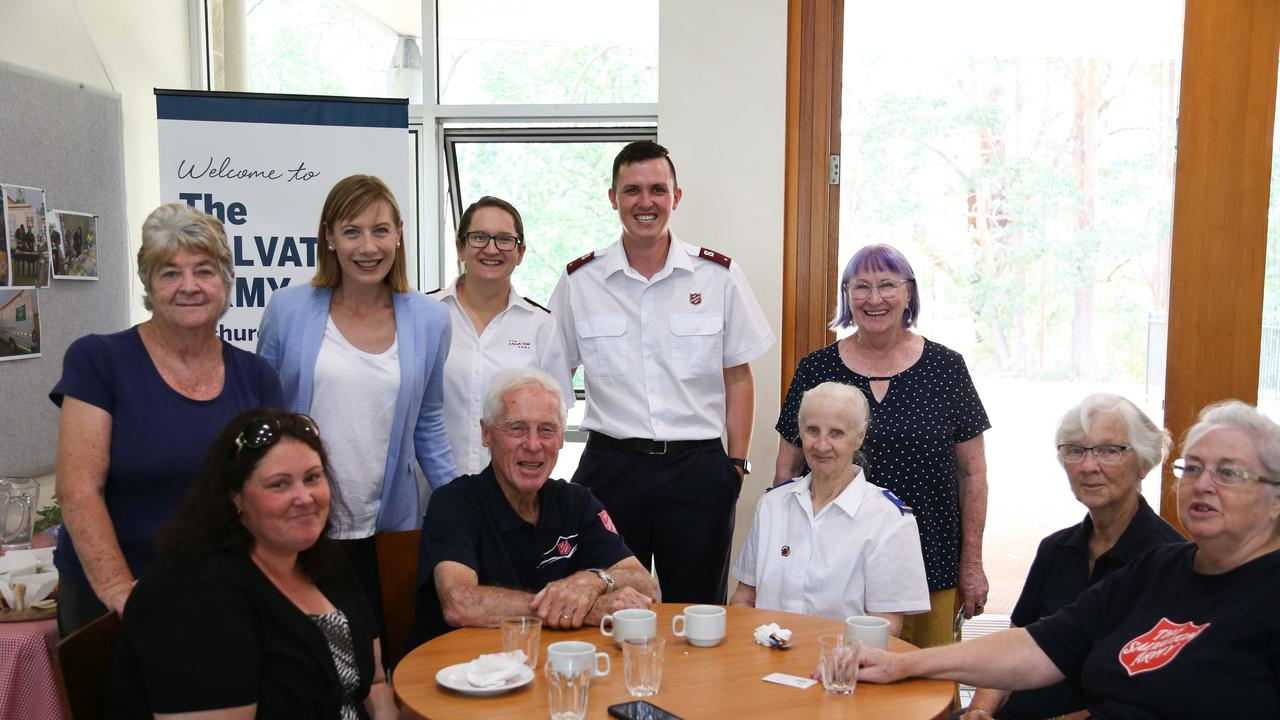 SALUTING THE SALVOS: NSW Shadow Minister for Seniors and Volunteers Jo Haylen, second from left back row, with Lieutenants Donna and Philip Sutcliffee, immediately to her right, and their hardworking team of volunteers.