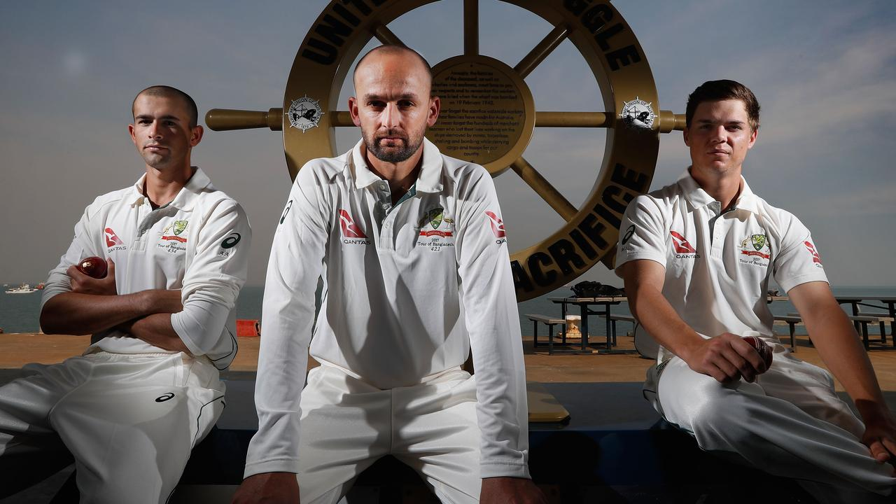 Australian selectors want Ashton Agar (left) and Mitchell Swepson (right) to step up to support Nathan Lyon in the Sydney Test.
