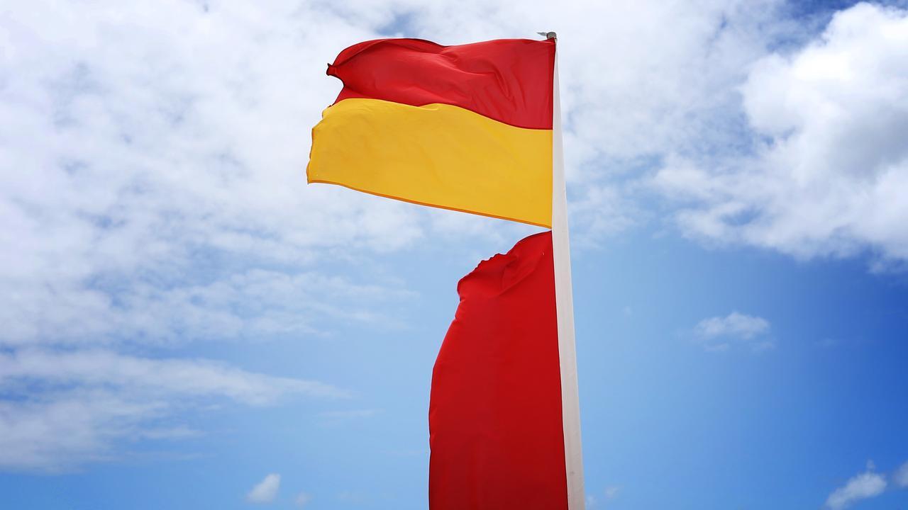 Life saving Australia red and yellow swimming flags. Picture: Brendan Radke.