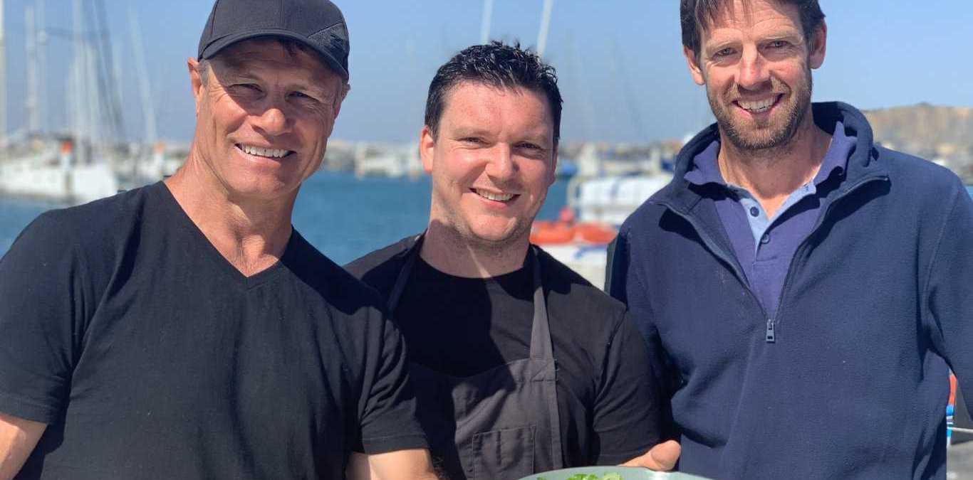 Andrew Ettinghausen from ET, Sawtell chef Richie Dolan and local Coffs Harbour Kingfish fisherman Luke Dickens.