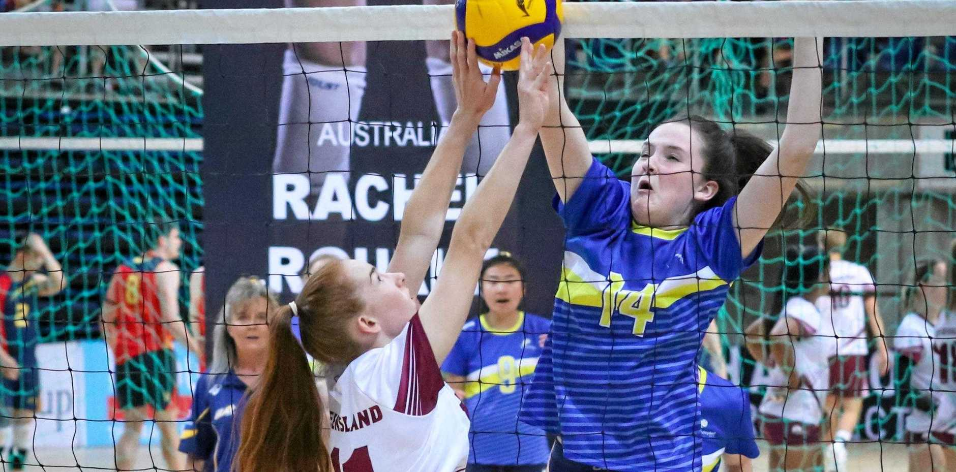 TOP PLAYER: Sasha Templeton (left) received the most valuable player award in her Queensland team at the annual Volleyball Queensland Gala Awards ceremony.