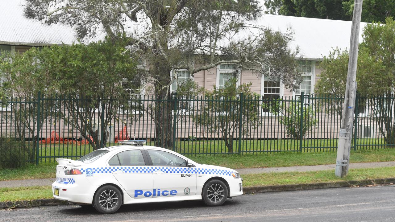 Police outside Byron Bay Public School where a woman is alleged to have stabbed a teacher.