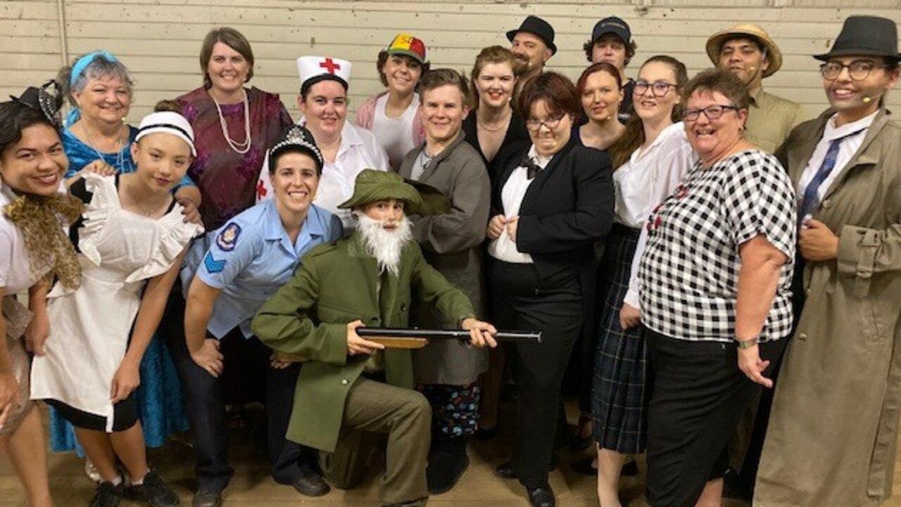 MYSTERIOUS CAST: Murder at Crimson House performers are ready to keep guests guessing as they present the South Burnett Musical Comedy Society's 2019 theatre restaurant.