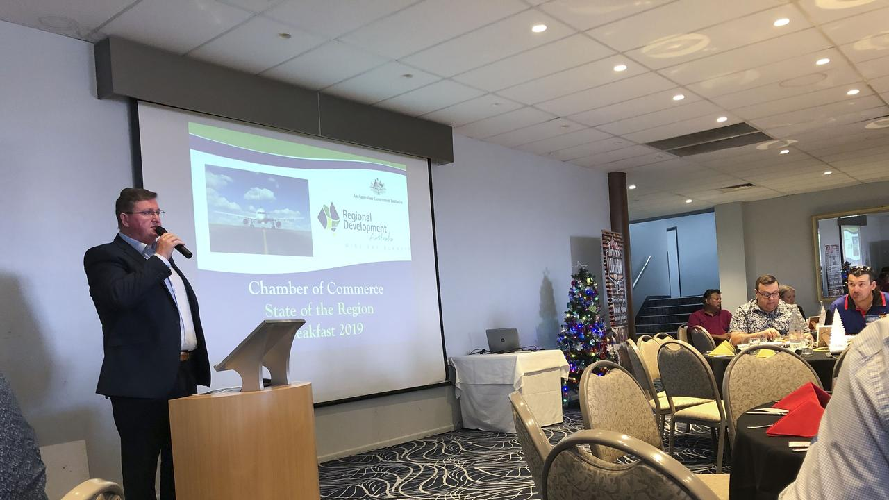 Director of Regional Development for the Wide Bay Burnett Scott Rowe addressing the Hervey Bay Chamber of Commerce business breakfast.