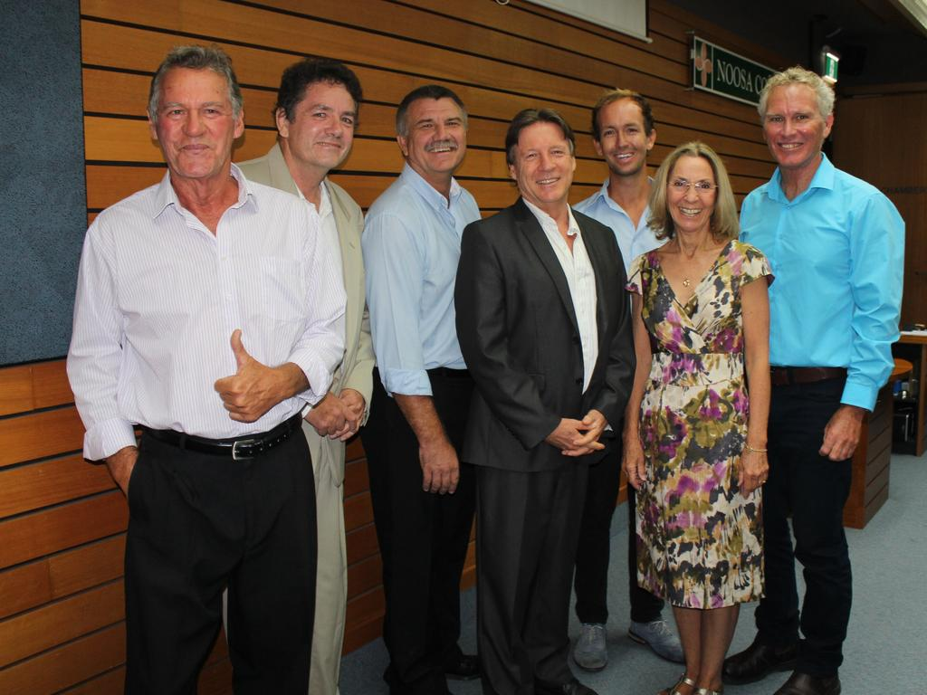 Cr Ingrid Jackson (second far right) with Deputy Mayor Frank Wilkie (far right) was the only woman in the male dominated 2016-2020 Noosa Shire Council. Also pictured (from left) Crs Frank Pardon, Cr Brian Stockwell and Cr Joe Jurisevic with Mayor Tony Wellington and Cr Jess Glasgow. Photo: Contributed