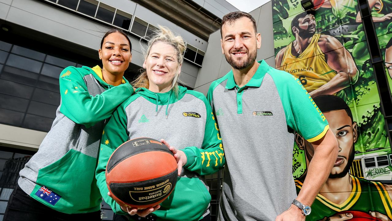 Australian basketball royalty Liz Cambage, Lauren Jackson and Andrew Bogut. Picture: Tim Carrafa