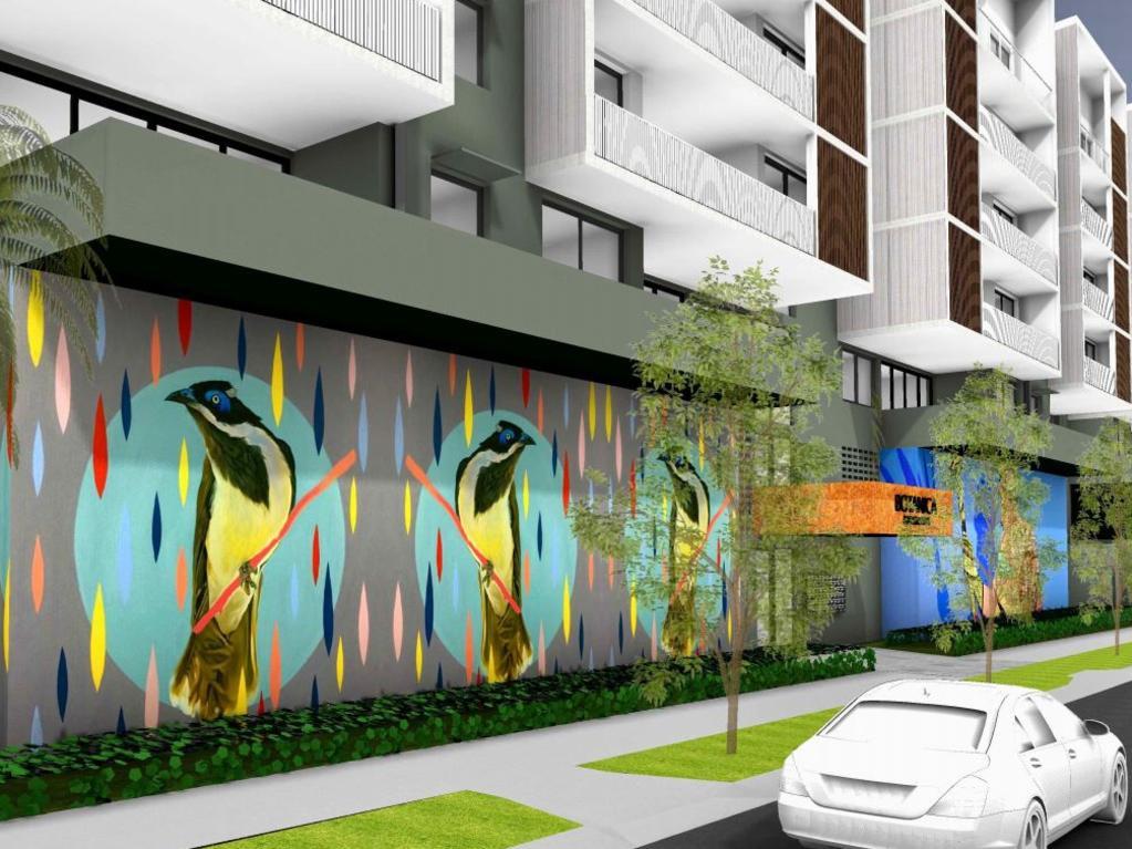 Artist impression of the 17m street art wall.