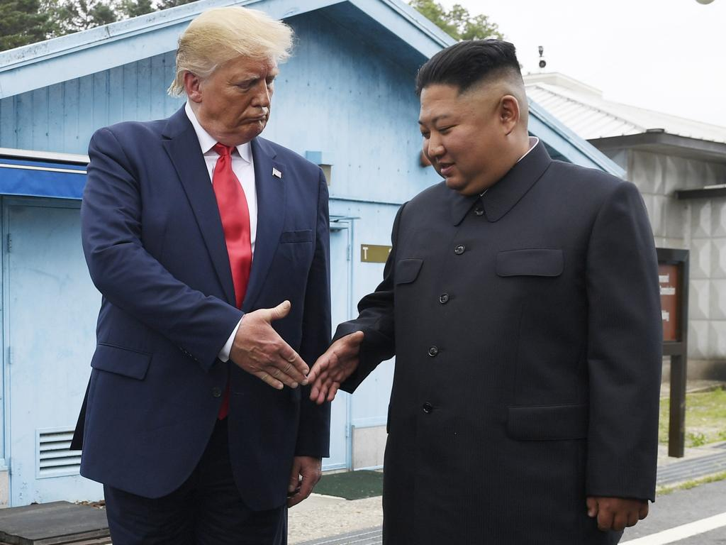 US President Donald Trump meets with North Korean leader Kim Jong-un at the border village of Panmunjom in the Demilitarised Zone, South Korea. Picture: AP