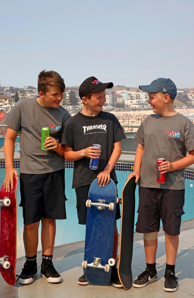 Luan O'Connor, Taj Burns and Jett Jones-Czechowski at Bondi Skate Park. Picture: Toby Zerna