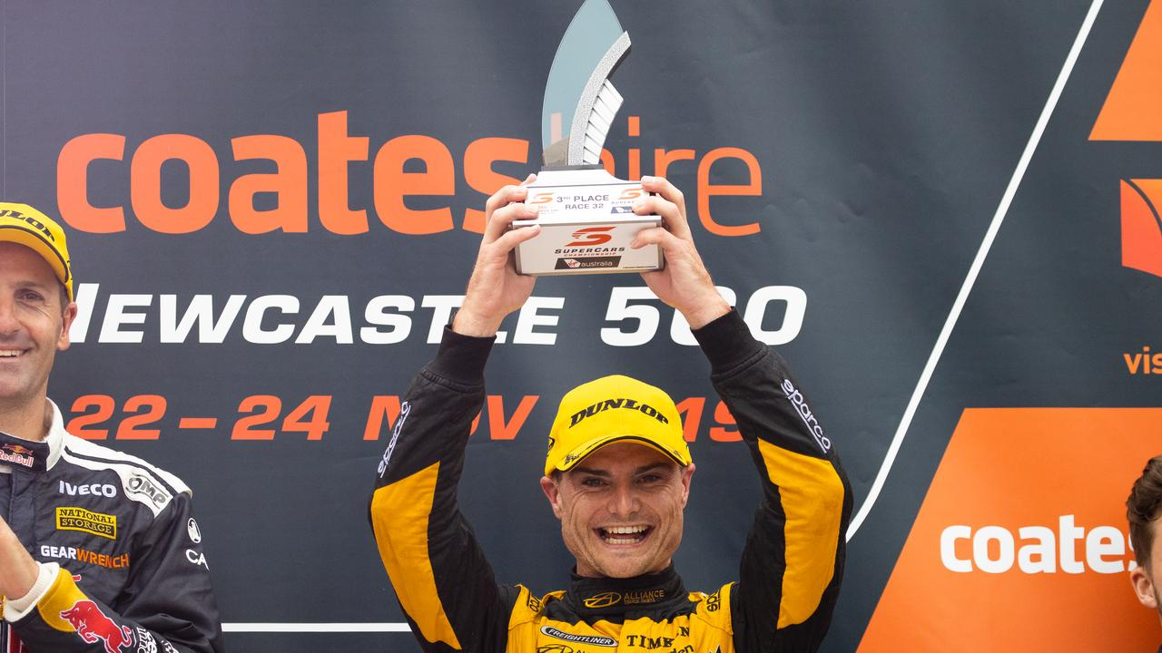 NEWCASTLE, AUSTRALIA - NOVEMBER 24: Tim Slade driver of the #14 Freightliner Racing Holden Commodore ZB celebrates during race 2 of the Newcastle 500 as part of the 2019 Supercars Championship on November 24, 2019 in Newcastle, Australia. (Photo by Daniel Kalisz/Getty Images)