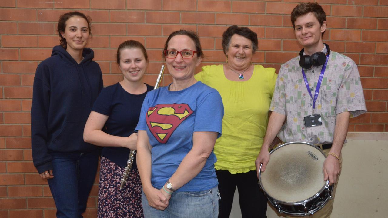 HEROES: South Burnett Community Orchestra members Emily Haak, Alisha Thurston, Caz Dingle, Rhonda Smith and Jason Hanwright are ready for the free family concert. (Photo: Jessica McGrath)