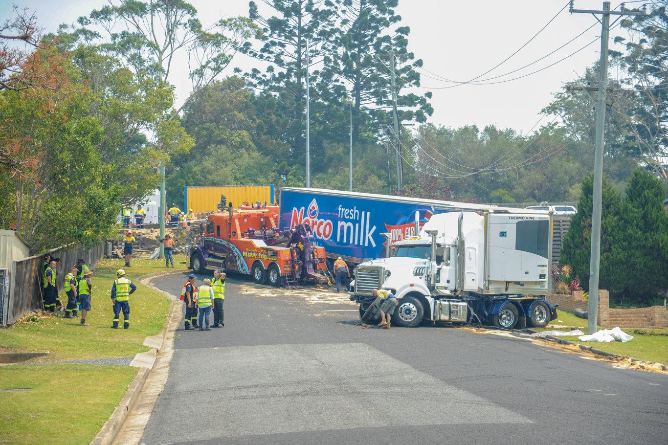 Emergency services attend scene of truck crash on Azalea Avenue in Coffs Harbour.