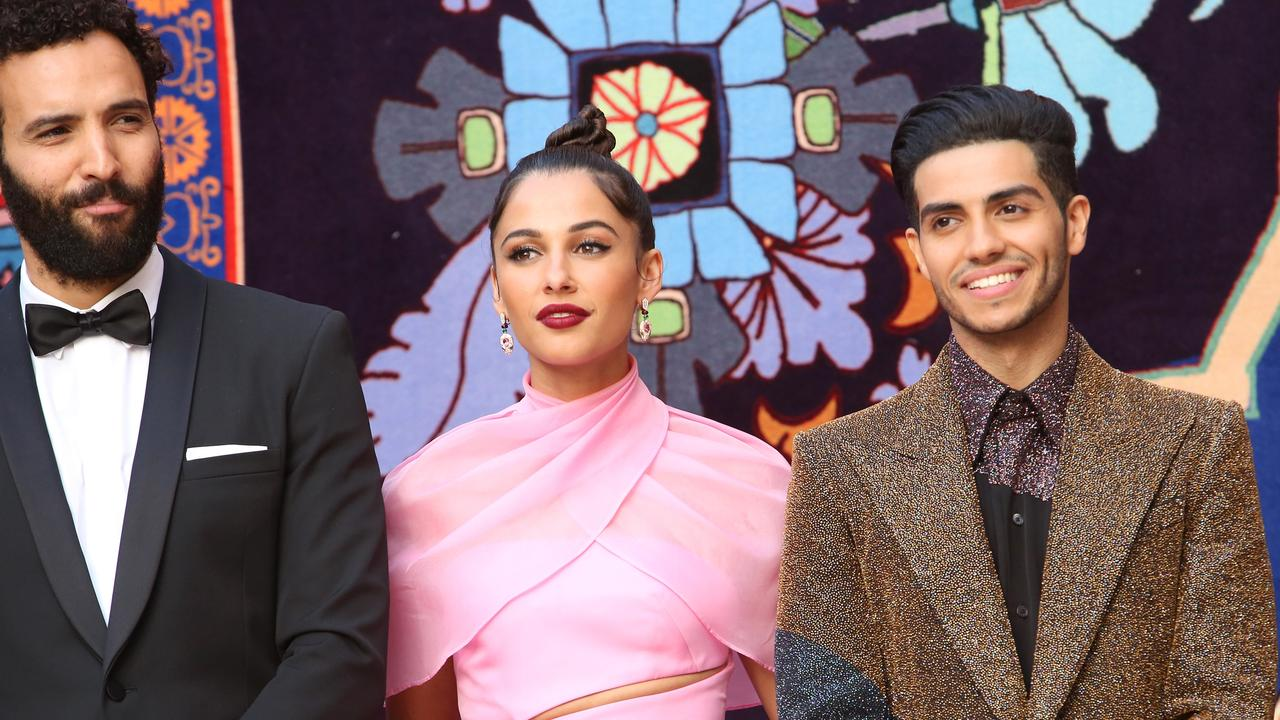 (L-R) Marwan Kenzari, Naomi Scott and Mena Massoud at the Aladdin world premiere in May. Picture: Getty