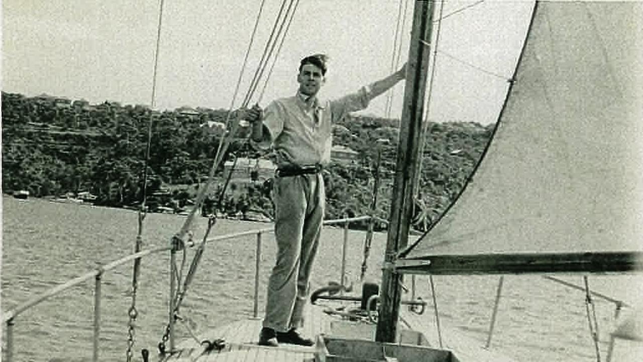 Peter Luke aboard his 1945 Sydney Hobart Yacht Race entry, Wayfarer.