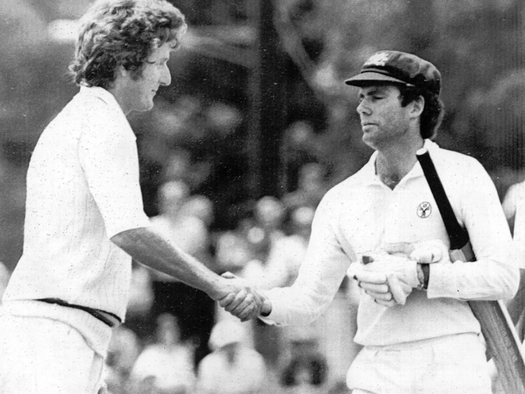 Bob Willis and Greg Chappell shake hands at the Adelaide Oval in 1982.