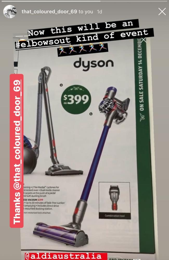 An amazing Dyson deal at Aldi has been spotted and shared by a fan page dedicated to the German supermarket. Picture: Instagram / Aldi Lovers Australia