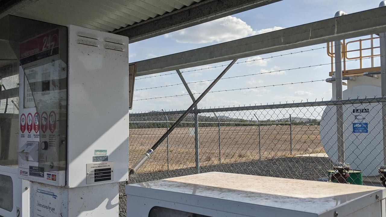 A frustrated aviator has bent the antenna on the refuelling station at Gayndah Aerodrome, Ted Kirk Field away from the shade structure, in order to get better service for payments. Photo: Alex Treacy