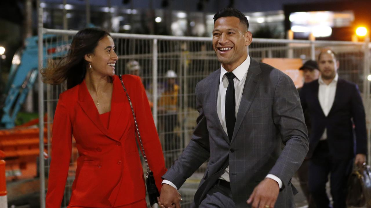 Israel Folau leaves Federal Court with his wife Maria. Picture: Darrian Traynor/Getty