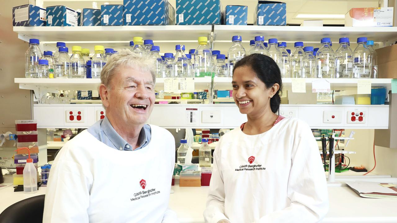 QIMR Berghofer Medical Research Institute scientists Professor Don McManus and Dr Shiwanthi Ranasinghe. Picture: Claudia Baxter/AAP