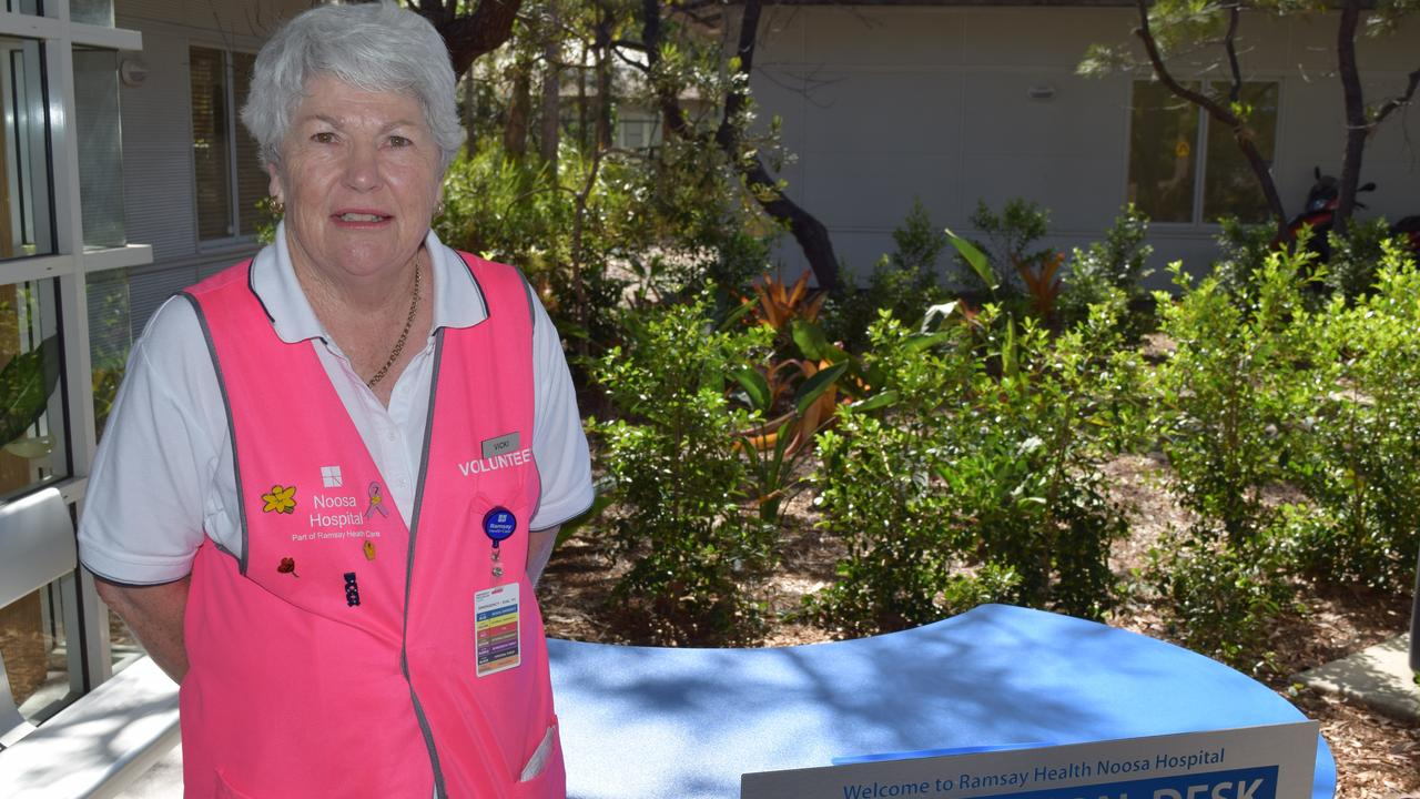 A warm welcome to Noosa Hospital is assured by Wednesday volunteer Vicki Lloyd.
