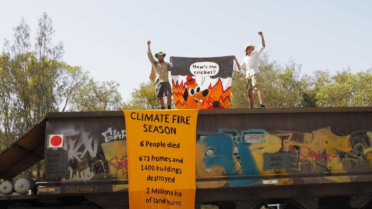 Climate protesters blocked the passage of a coal train at Wynnum Tuesday. PICTURE: Supplied