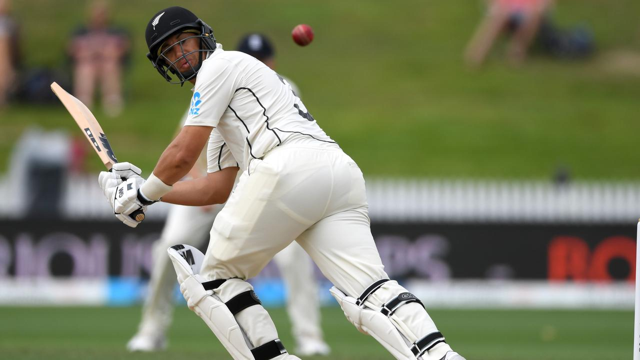 HAMILTON, NEW ZEALAND - DECEMBER 03: Ross Taylor of New Zealand bats during day 5 of the second Test match between New Zealand and England at Seddon Park on December 03, 2019 in Hamilton, New Zealand. (Photo by Gareth Copley/Gareth Copley)