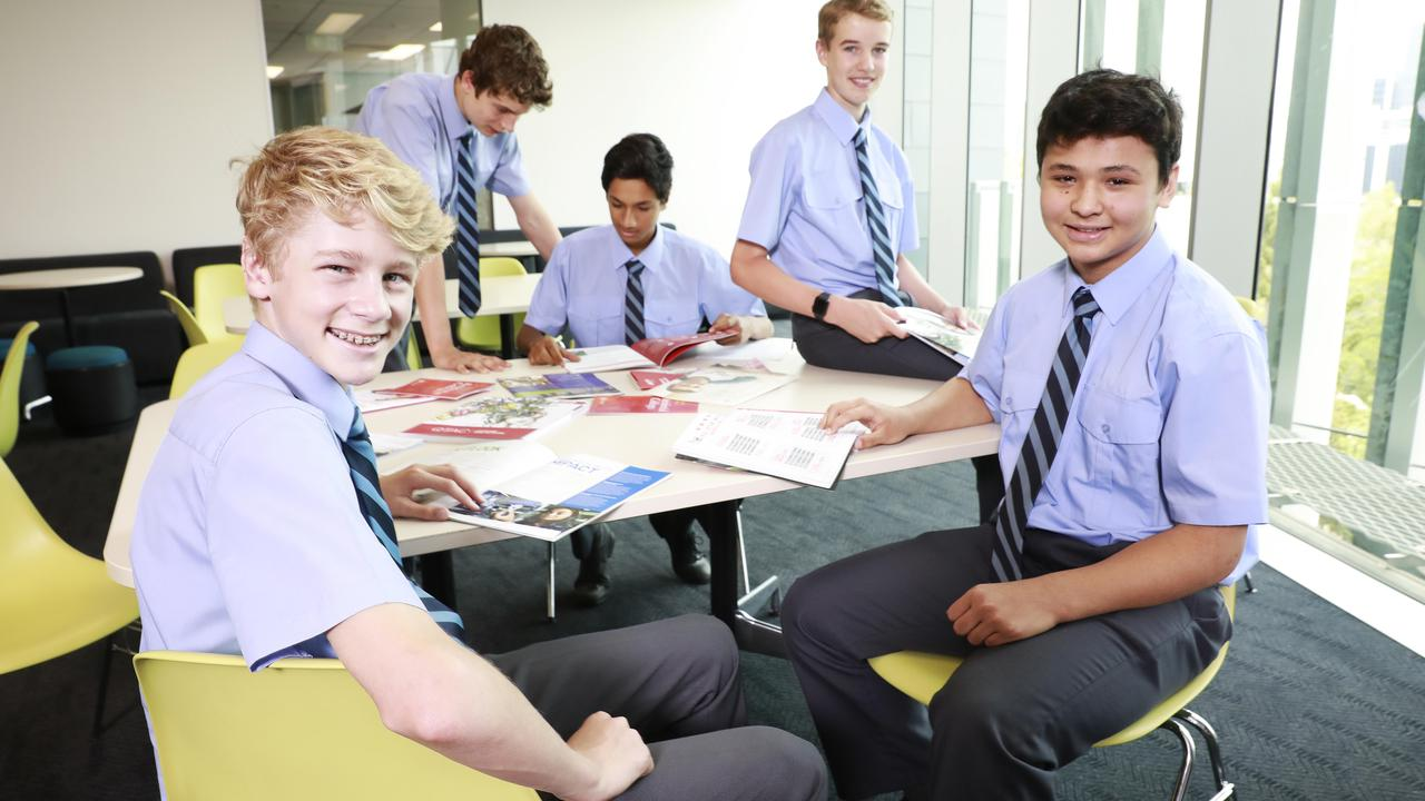 Brisbane Grammar School is among the top-performers - students Hamish Moss, 15, Ned Boorer, 14, Alex Thakur, 14, Matthew Love, 14, and Carter Aitken, 15. (AAP Image/Claudia Baxter)