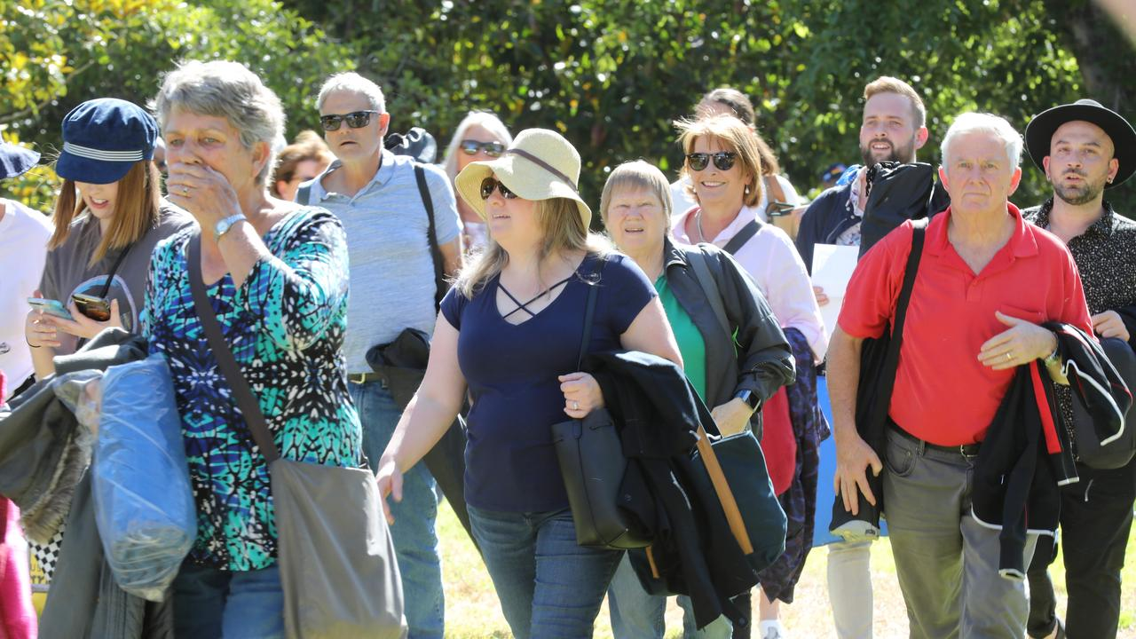 Elton John fans head into Botanic Park before the show. Picture: Dean Martin