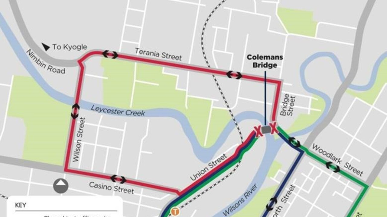 There will be changed traffic conditions on Colemans Bridge in Lismore this weekend.