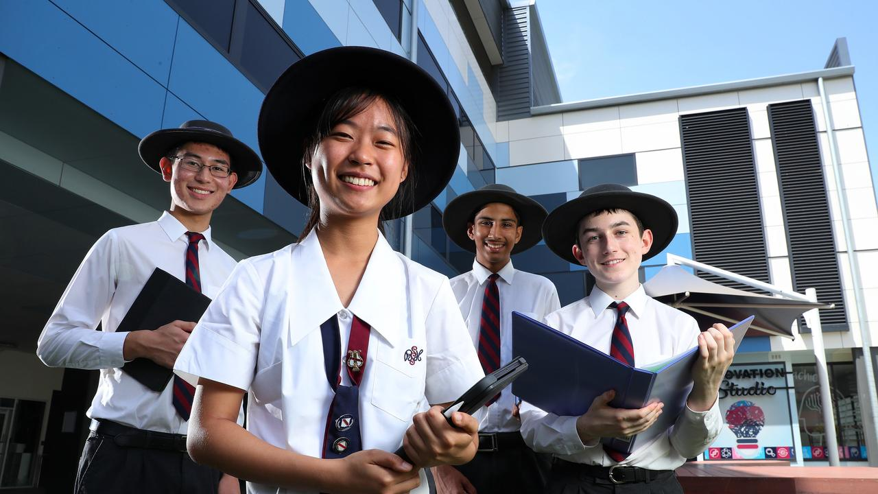 Brisbane State High School students Harry Jenkins, Grace Kang, Aditya Anand, and Sam Meredith, are part of one of Queensland's best performing secondary schools in NAPLAN over the past 5 years. Photographer: Liam Kidston.