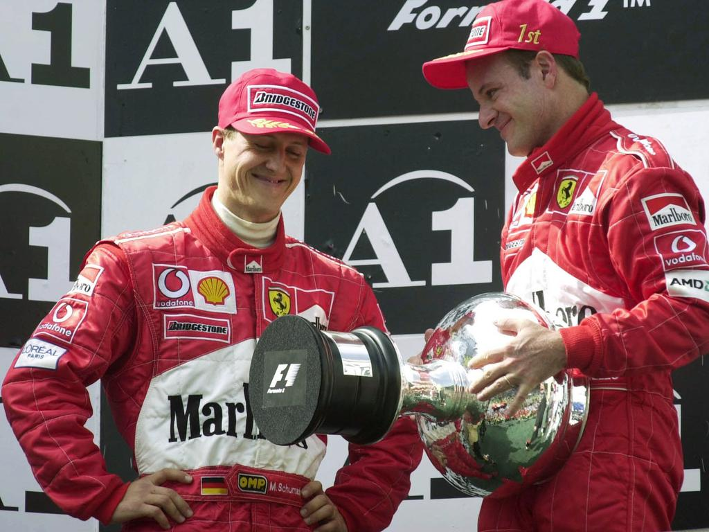 Barrichello and Schumacher shared plenty of podiums in their time together.