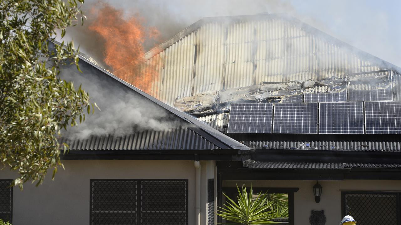 A house fire on the outskirts of Toowoomba. Picture: Kevin Farmer