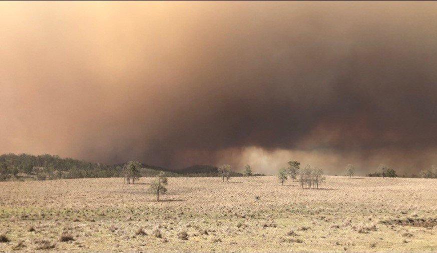 The Bangala Creek Fire. Photo taken of Hootons Road, Duck Creek.