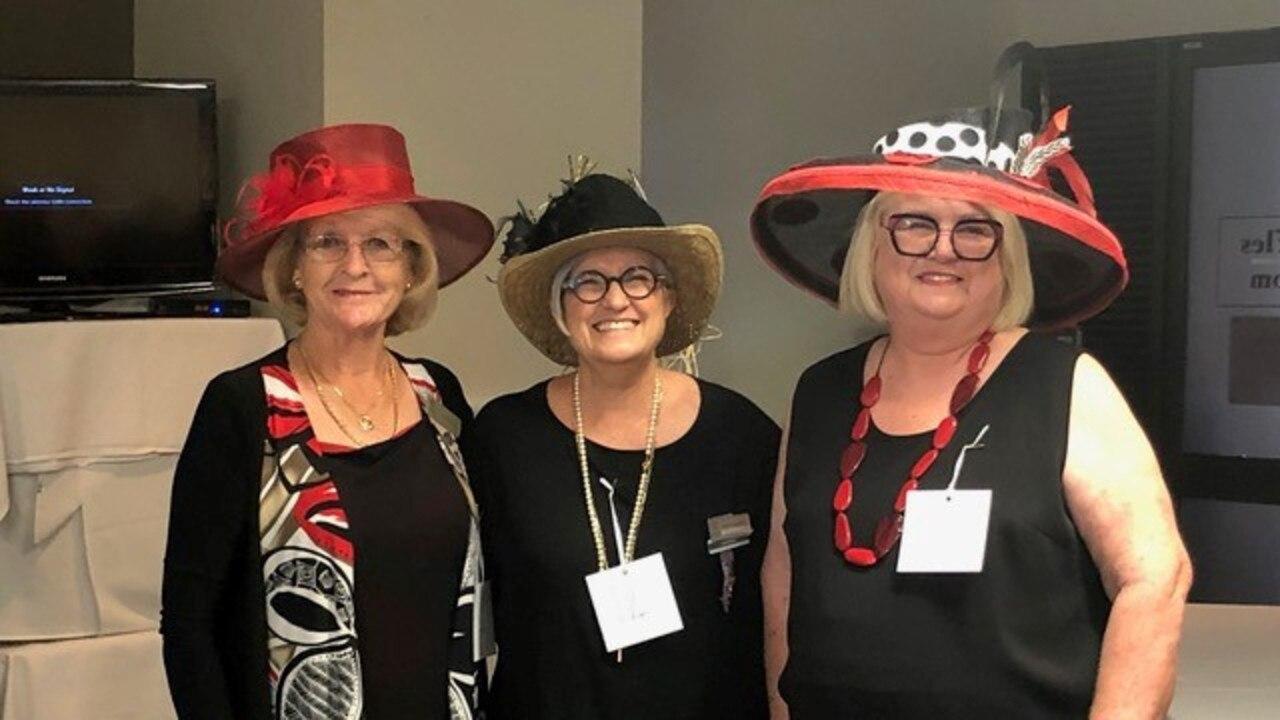 Chapel Hill VIEW Club Melbourne Cup prize winners: Liz Thomas-Ellis (best outfit), Laurie Slaughter (best novelty hat) and Liz Lange (best hat).