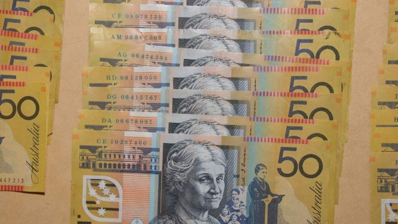 Large sums of money were seized by police as part of Operation Quebec Harrow, targeting drug trafficking in Mount Isa and Cloncurry. Picture: QPS