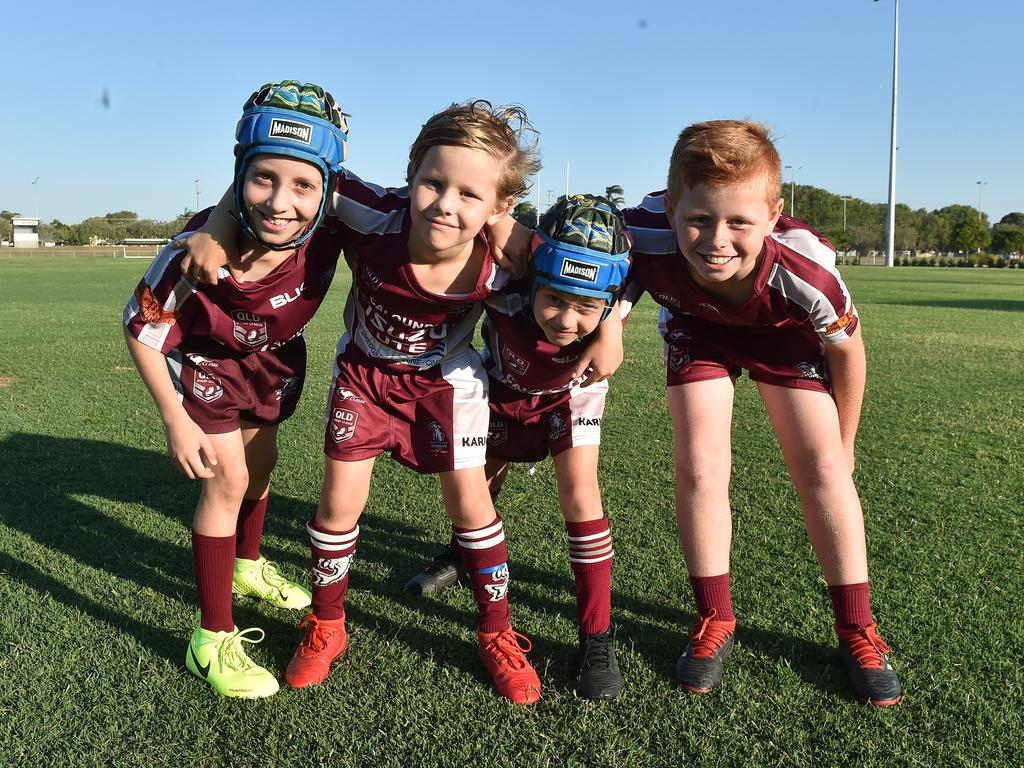 Kawana Dolphins juniors Cooper Bretherton, Cooper and Reni Chaytor and Jed Lawrence.