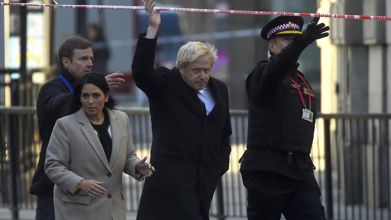 British Prime Minister Boris Johnson visiting the London Bridge attack scene. Picture: Peter Summers/Getty