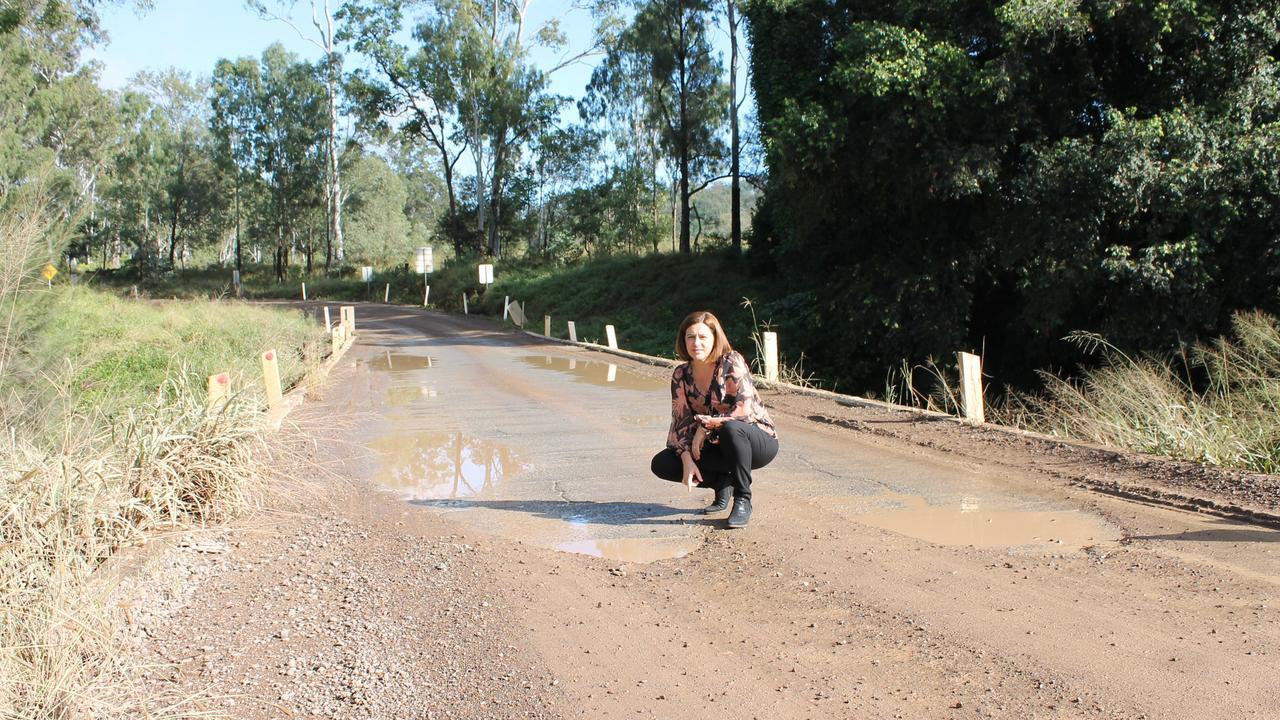 Member for Nanango, Deb Frecklington on Running Creek Bridge earlier in 2019. Photo: Denise Keelan