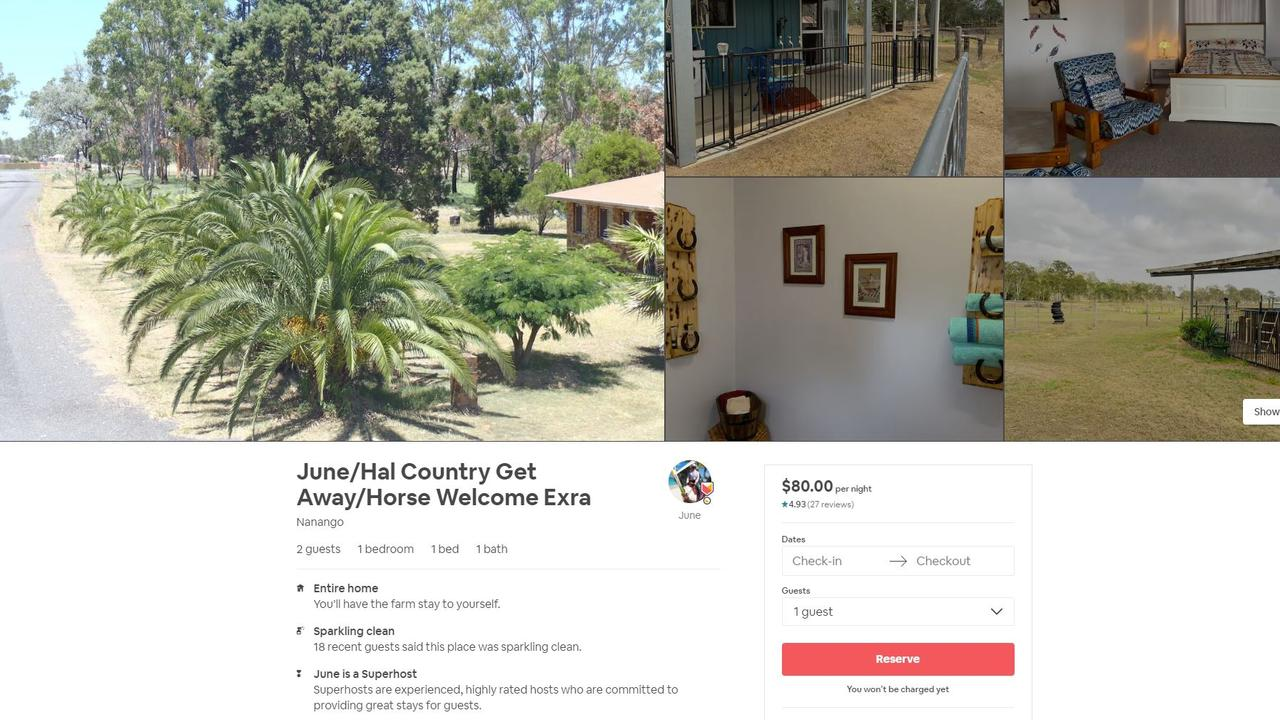 Country Getaway, situated in Nanango, has a rating of 4.93 stars on Airbnb.