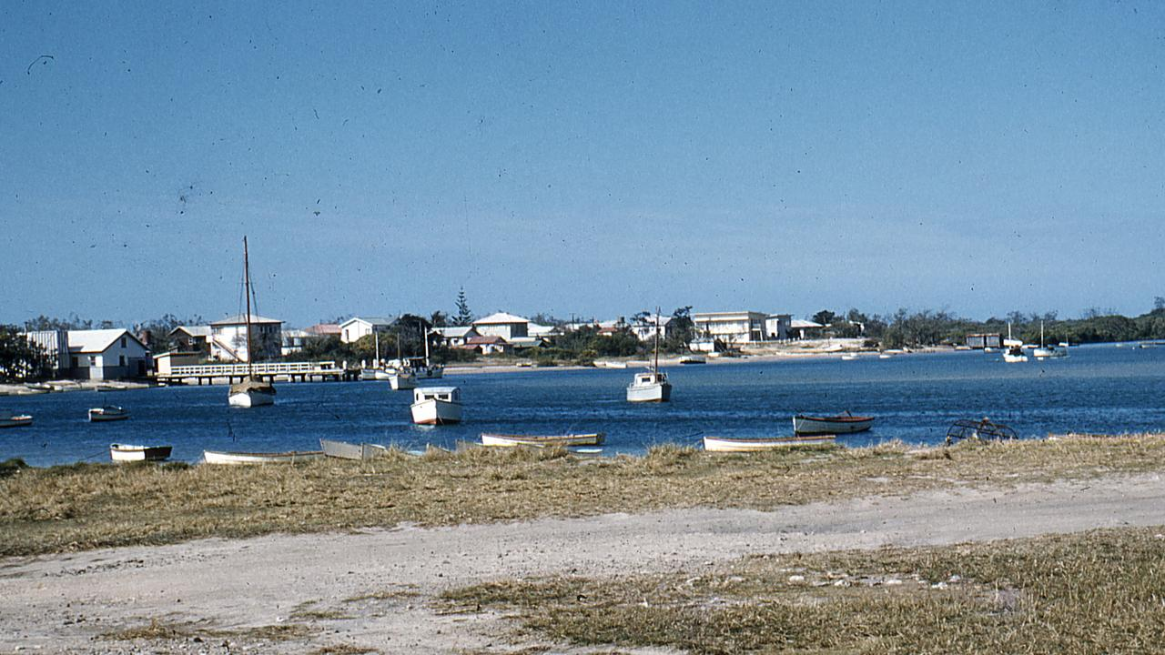 The Mooloolah River and Spit viewed from River Esplanade, Mooloolaba, 1956 (taken from the vicinity of Charles Clarke Park). Buildings pictured on the Mooloolaba Spit (background) include: Fish Depot and jetty (left) established in 1955 and 'Shangri-La' flats owned by the Pacey family (centre background). Picture: Contributed