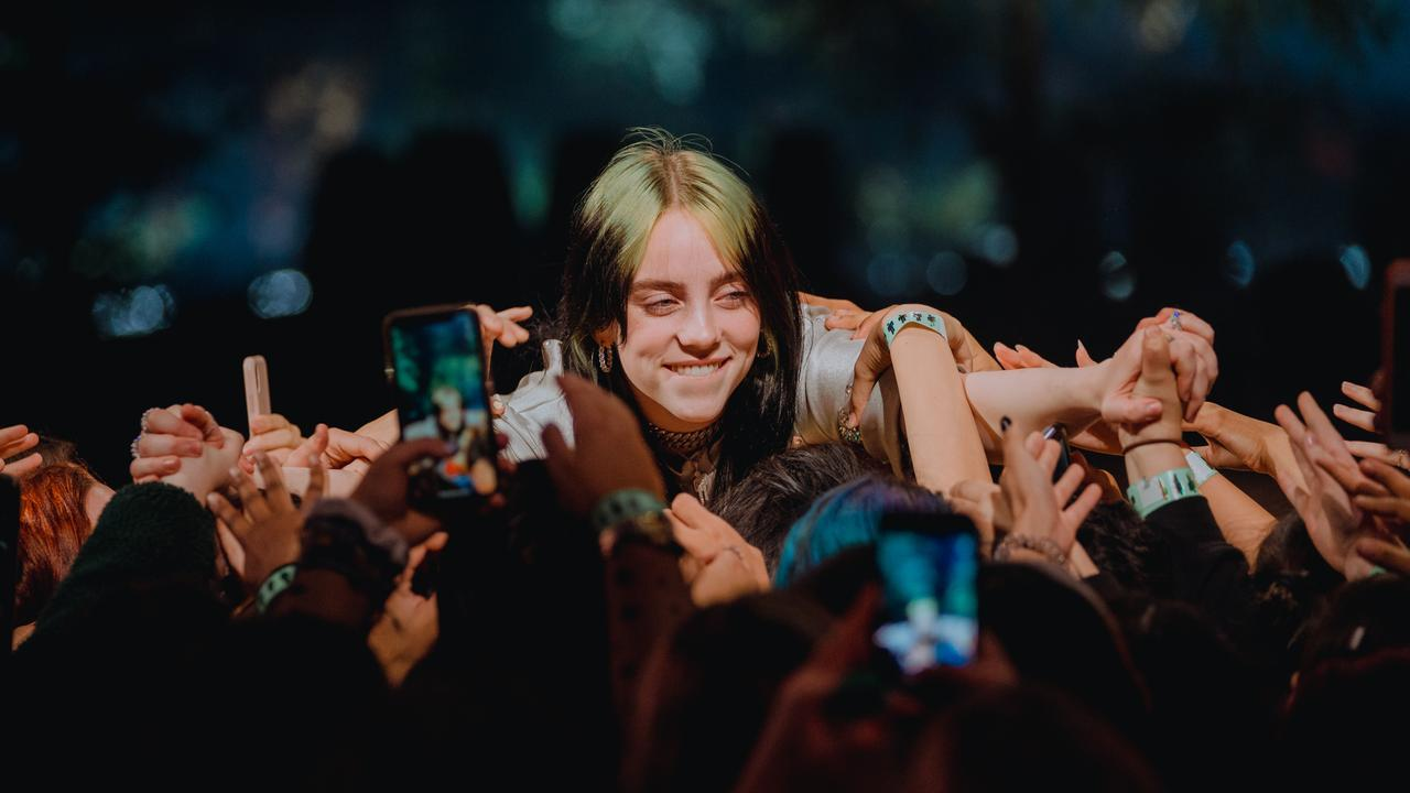 Billie Eilish performs at a rare acoustic show. Picture: Apple Music