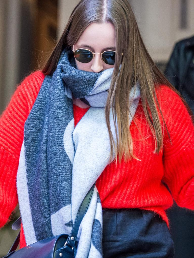 Sarah Ristevski walks from the Supreme court after attending her father's sentencing hearing. Picture: Jake Nowakowski
