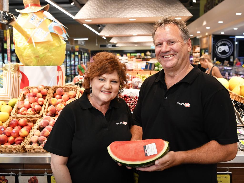 Owners of Whites IGA, Bli Bli, Roz and Michael White. Photo Patrick Woods / Sunshine Coast Daily.