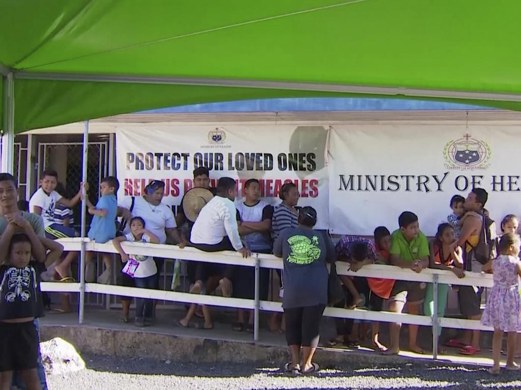 Samoa is in crisis after being hit with a measles epidemic that to date, has reportedly claimed the lives of at least 57 infants. Picture: TVNZ via AP