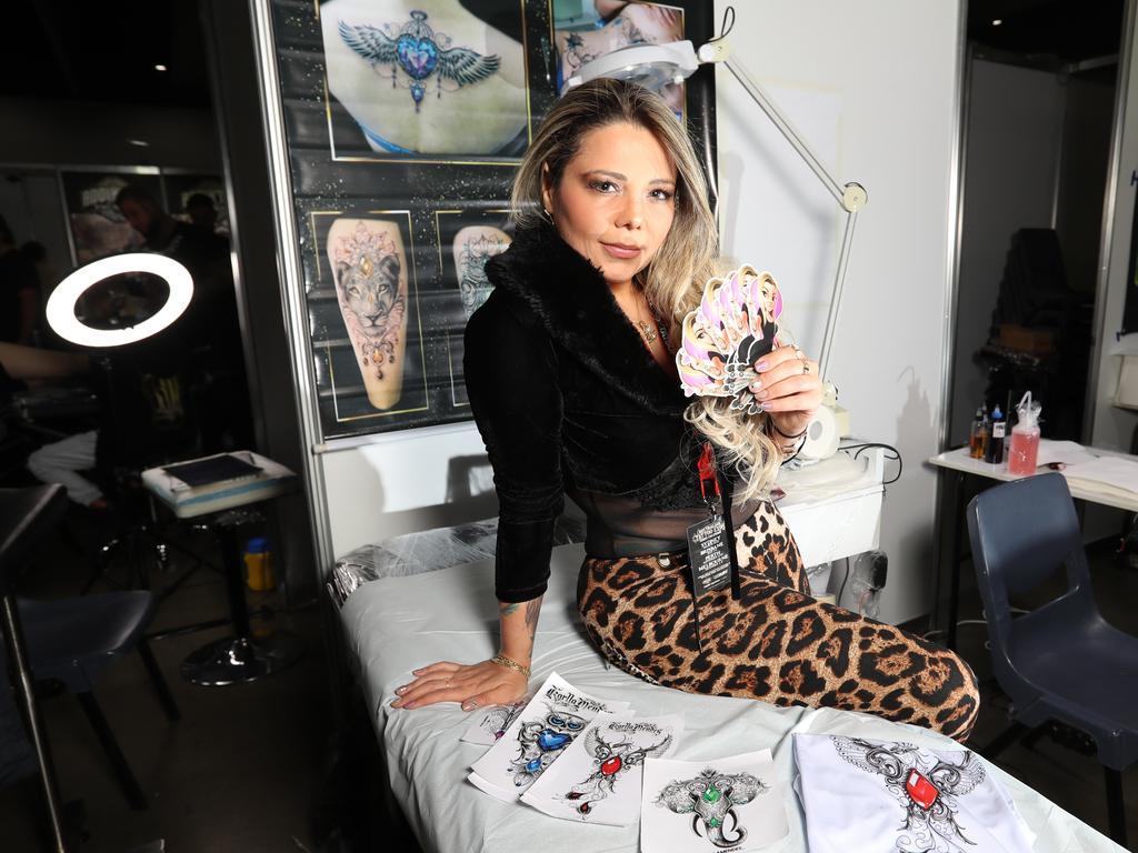 Brazilian artist Karla Mendes creates beautiful diamond tattoos. Picture: Alex Coppel