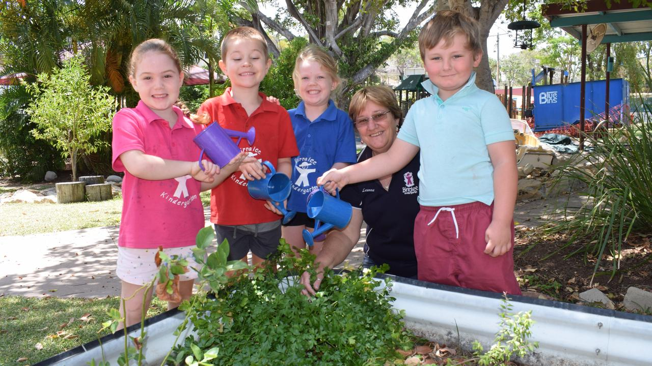 Eilish Towne, Jackson Riggs, Bianca Robson, Leanne tight and Charlie Clancy love gardening at Birralee Kindergarten and will get to do more thanks to a Woolworths Junior Landcare Grant 4 December 2019