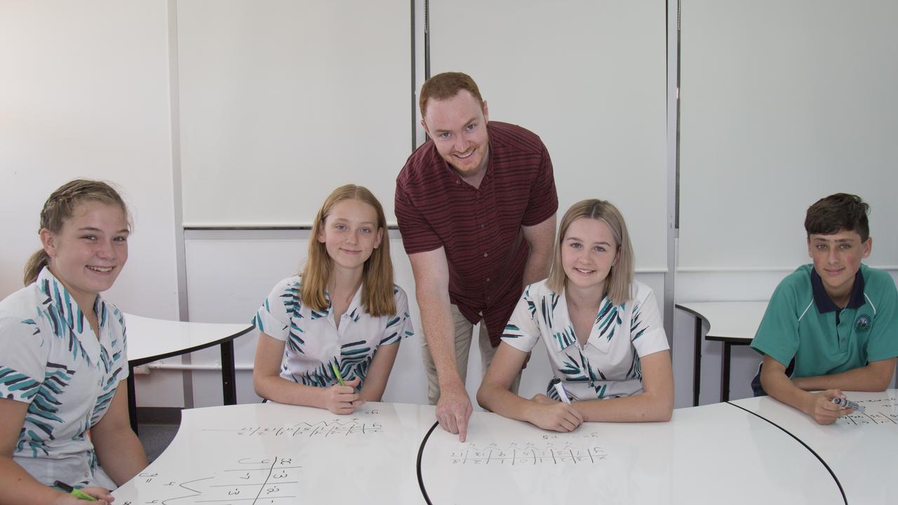 Sunshine Beach State High students Amelia Aufderheide, CoCo Birt, Zoe Waller, Daniel Theiber and teacher Andrew Savage.