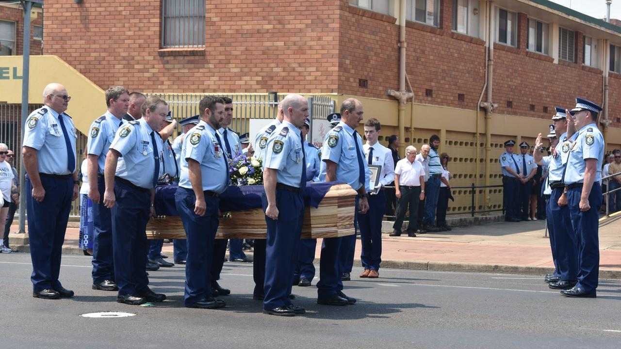 The funeral of Stephen Nixon, former highway patrol Senior Constable for 32 years in Lismore and Casino, held at Casino Civic Hall.