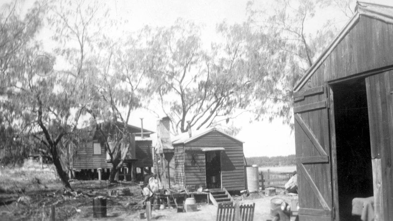 Holiday huts along the Mooloolah River side of the Spit, Mooloolaba, 1940s. Following the auction of allotments on the Spit by the Department of Public Lands in April 1939, six holiday huts were built along the Mooloolah River front and four others on the ocean foreshore. Picture: Contributed