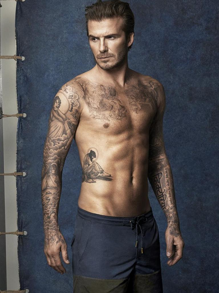 David Beckham was one of the first sports stars to set tattoo trends in the UK and beyond. Picture: Glen Luchford/H&M